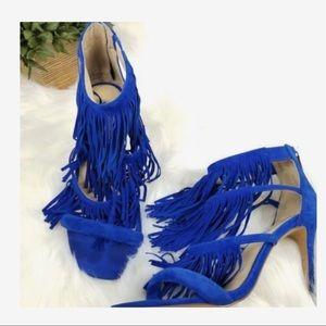 Steve Madden blue fringe heels